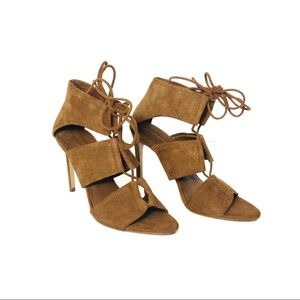 Zara Whisky Leather High Heels Lace Up Ankle Strap